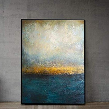 Dark Blue Abstract Wall Art Pertaining To Famous Amazon: Abstract Wall Art Dark Blue Gold Canvas Paintings Modern (View 5 of 15)