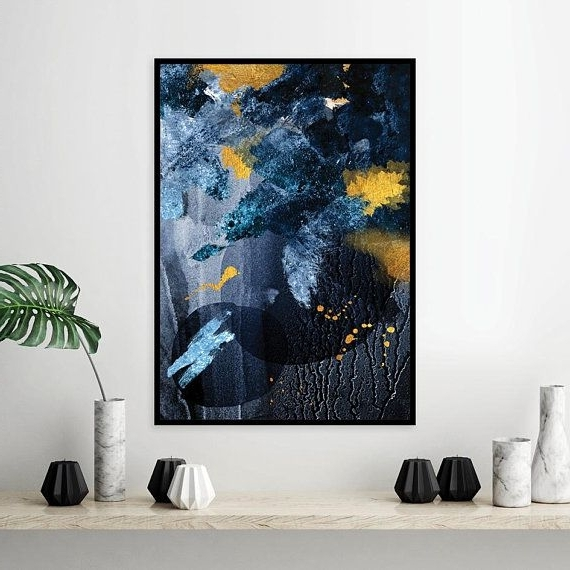 Dark Blue Abstract Wall Art With Regard To Favorite Downloadable Navy Blue And Gold Abstract Printable Wall Art Large (View 6 of 15)