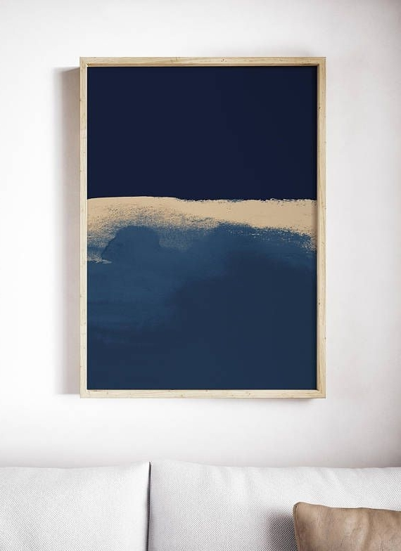 Dark Blue Wall Art Pertaining To Latest Modern Blue Art Print. Abstract Blue Print. Mixed Media (View 3 of 15)