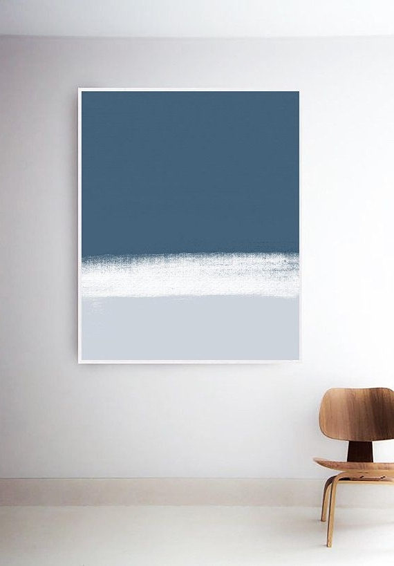 Dark Blue Wall Art Throughout Fashionable Abstract Blue And White Art Print. Blue Painting (View 5 of 15)