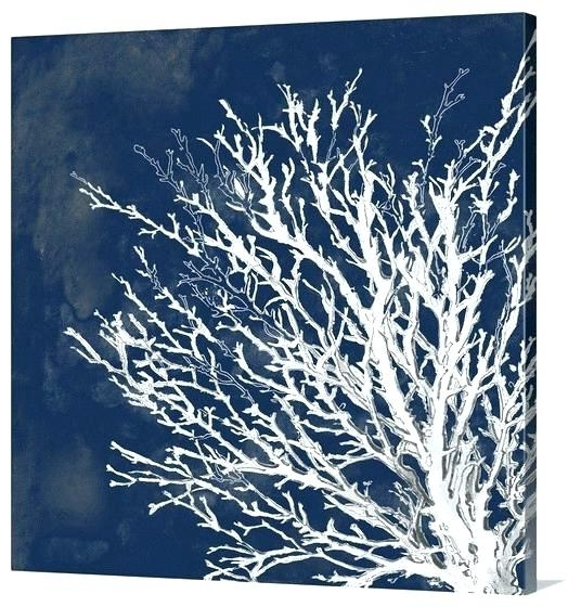Dark Blue Wall Art With Most Up To Date Dark Blue Wall Art Coral Wall Art Coral Wall Decor Dark Blue Wall (View 7 of 15)