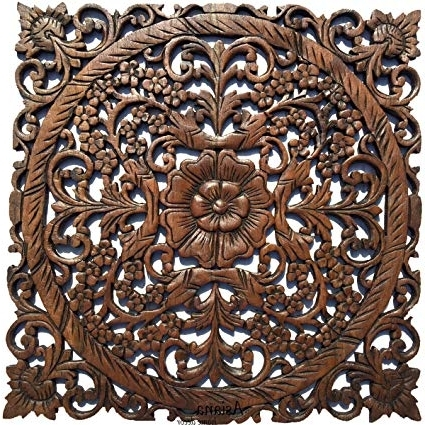Dark Wood Wall Art With Current Amazon: Large Wood Wall Art Oriental Carved Wood Wall Decor (View 11 of 15)