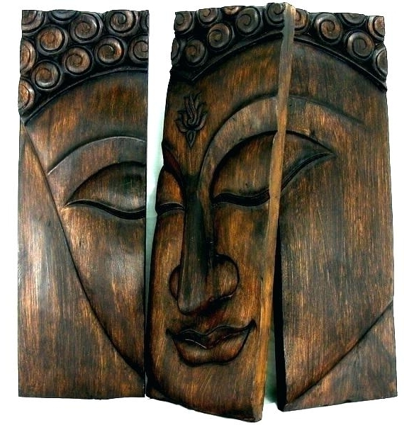 Dark Wood Wall Art With Regard To Recent Dark Wood Wall Art Dark Wood Wall Art Wooden Face Wall Art Panel X (View 3 of 15)