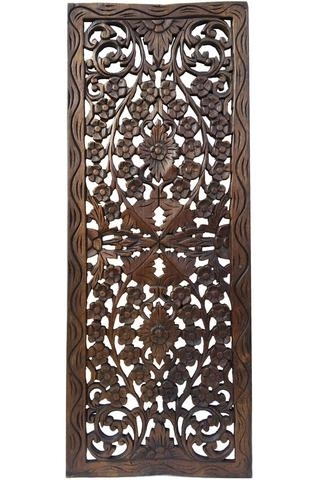 Dark Wood Wall Art With Well Known Tropical Home Decor Floral Wall Decor Carved Wood Wall Panel Floral (View 4 of 15)