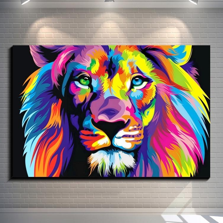 Dazzle Colour Lion Painting Pictures Abstract Art Print On The Pertaining To Well Known Abstract Lion Wall Art (View 5 of 15)