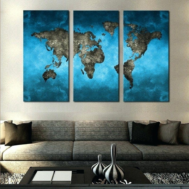 Decoration: Ocean World Map Multi Panel Canvas Wall Art Interiors With Latest Multi Panel Canvas Wall Art (View 13 of 15)