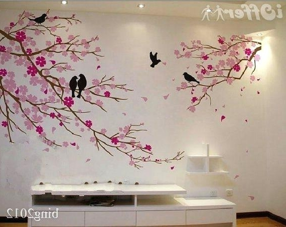 Decoration: Painted Trees Tree Mural Hand Wall Art (View 9 of 15)