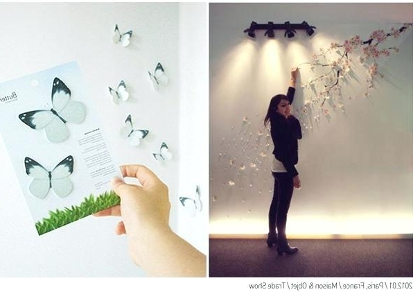Decoration: Wall Art Floral Butterflies Butterfly Wallpaper Stickers With 2018 Diy 3D Wall Art Butterflies (View 4 of 15)
