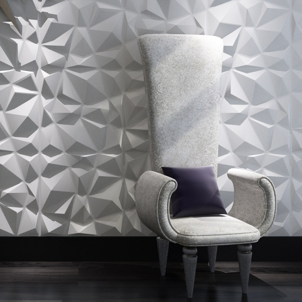 Decorative 3D Wall Panels Diamond Design, White, 12 Tiles 32 Sf Inside Well Known 3D Wall Covering Panels (View 3 of 15)