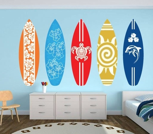 Decorative Surfboard Wall Art For Newest Il Fullxfull Sa Original Lovely Surfboard Wall Art – Home Design And (View 3 of 15)