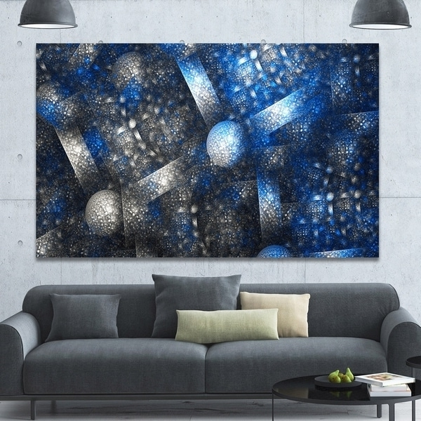 Designart 'crystal Cell Dark Blue Steel Texture' Abstract Wall Art Inside Preferred Dark Blue Abstract Wall Art (View 8 of 15)