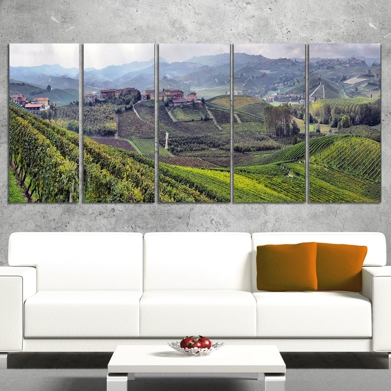 Designart Vineyards In Italy Panoramic 5 Piece Wall Art On Wrapped Intended For Most Recently Released Vineyard Wall Art (View 8 of 15)