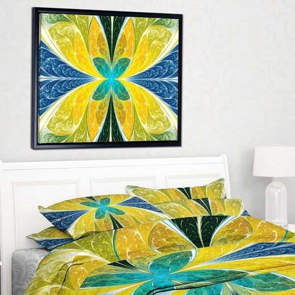 Designart 'yellow Fractal Stained Glass' Abstract Wall Art Framed Within Famous Glass Abstract Wall Art (View 6 of 15)