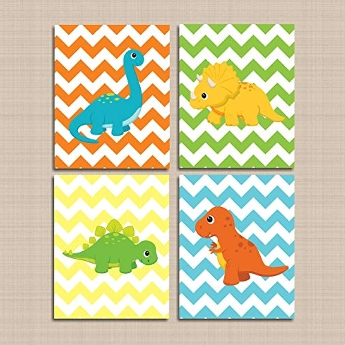 Dinosaur Wall Art For Kids Intended For Most Current Amazon: Dinosaur Nursery Wall Art,blue Green Orange Chevron (View 4 of 15)