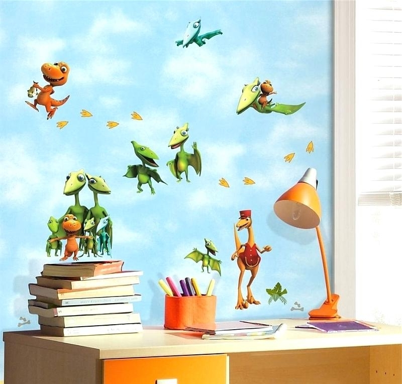 Dinosaur Wall Art For Kids Throughout Fashionable Kids Bedroom Wall Art View In Gallery Fancy And Colorful Dinosaur (View 5 of 15)
