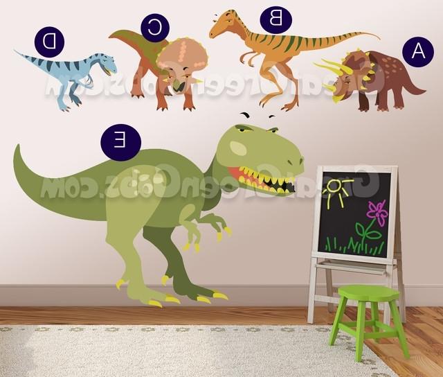 Dinosaur Wall Art For Kids Throughout Trendy Really Big Dinosaur Wall Decals Wall Decor Art For, Dinosaur Kids (View 6 of 15)