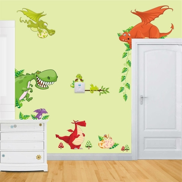 Dinosaur Wall Art Home Decorations Animal Stickers Kids Room Cartoon Within Most Current Dinosaur Wall Art For Kids (View 7 of 15)