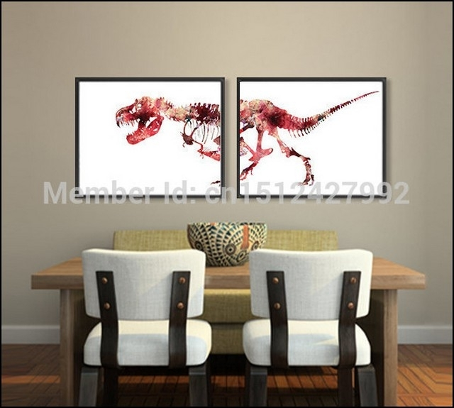 Dinosaur Wall Art Stretched Canvas (View 12 of 15)
