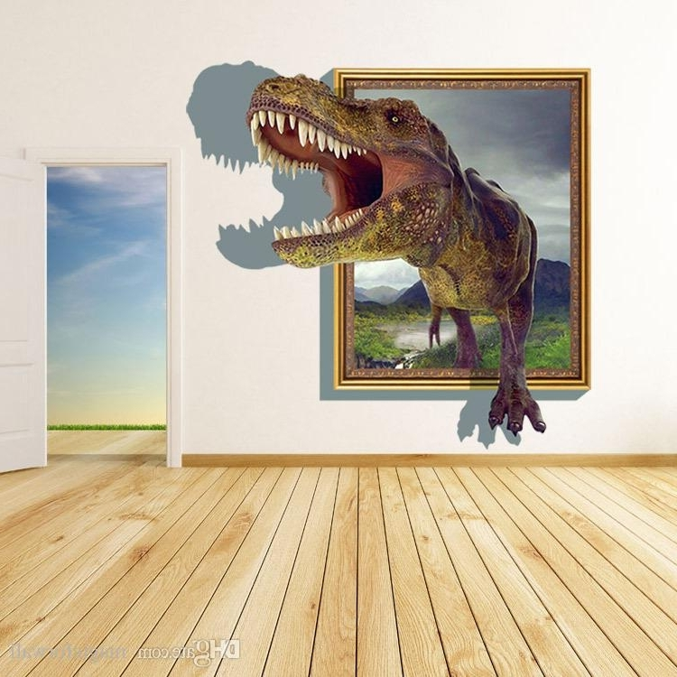 Dinosaurs 3D Wall Art In Newest New Arrival 3D Cartoon Dinosaur Out Of The Frame Wall Decor Stickers (View 4 of 15)