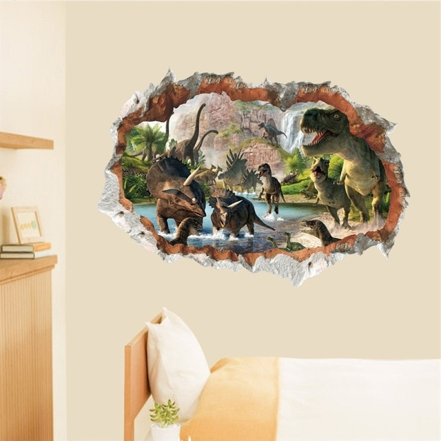Dinosaurs 3D Wall Art Intended For Most Popular Dinosaurs 3D Hole Wall Stickers Living Room Bedroom Decoration (View 11 of 15)