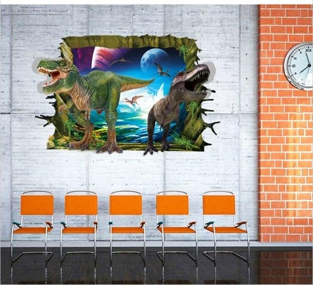 Dinosaurs 3D Wall Art Regarding 2018 Dinosaurs 3D Wall Stickers Wallt Rade Explosion Models Children's (View 6 of 15)