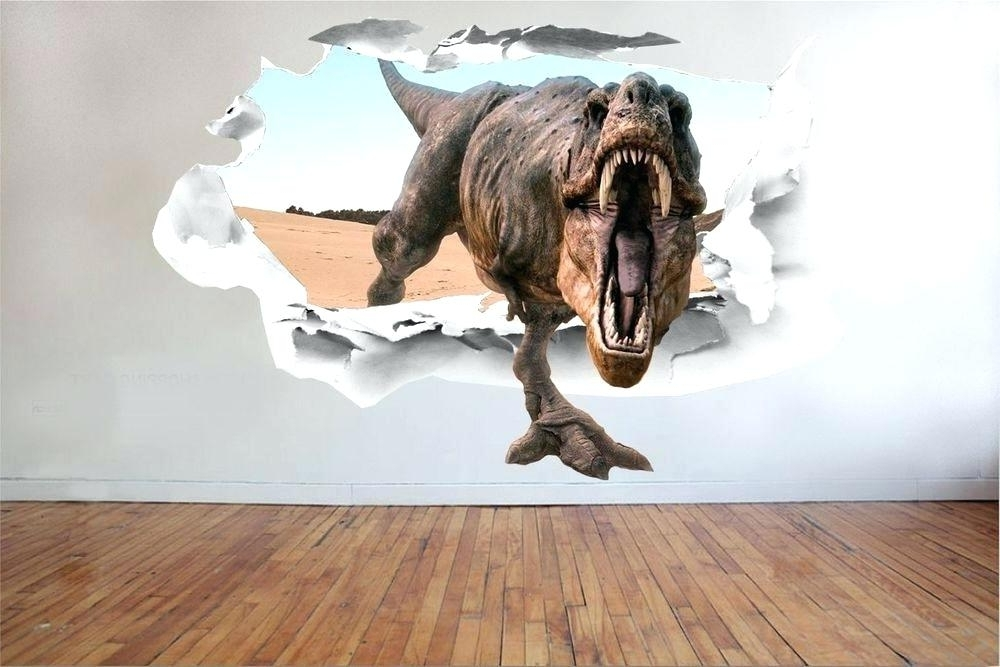 Dinosaurs 3D Wall Art With Well Liked Dinosaur Wall Stickers Waterproof Animals Poster Art Wallpaper (View 13 of 15)