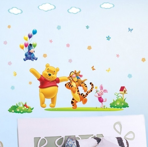 Disney Happy Winnie The Pooh Nursery Wall Sticker With Regard To Well Known Winnie The Pooh Wall Art For Nursery (View 8 of 15)