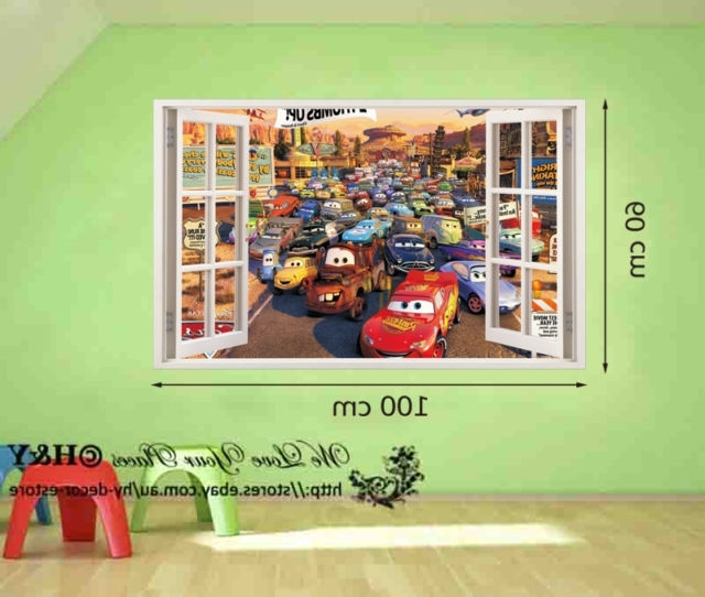 Disney Pixar Cars Mcqueen Mater 3D Window Kids Removable Wall Pertaining To Recent Cars 3D Wall Art (View 9 of 15)