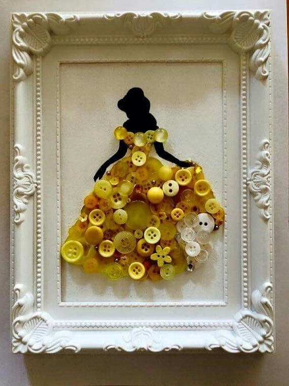 Disney Princess Framed Wall Art Inside Latest Belle Siloute With Buttons – Wall Art – Disney – Princess (View 12 of 15)