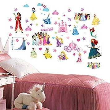 Disney Princesses Wall Stickers For Bedroom Boys And Girls Mural With Regard To Favorite Disney Princess Wall Art (View 8 of 15)