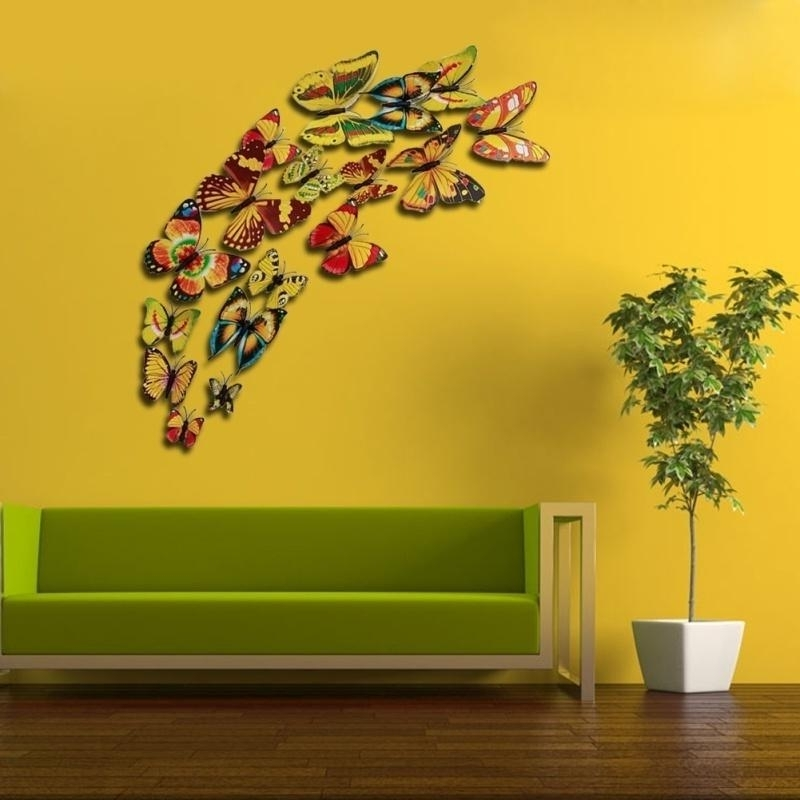 Diy 3D Colorful Three Dimensional Simulation Butterfly Wall Stickers Intended For Well Known 3D Removable Butterfly Wall Art Stickers (View 10 of 15)