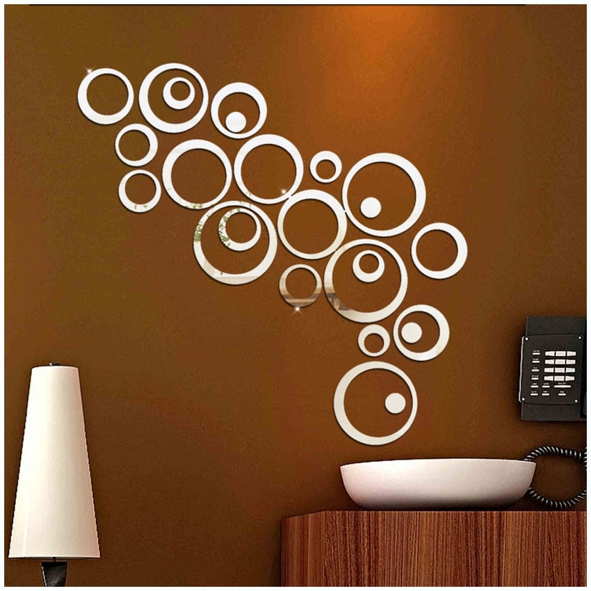 Diy 3D Mirror Acrylic Wall Stickers Creative Circle Ring Home Decors Inside Famous 3D Circle Wall Art (View 15 of 15)