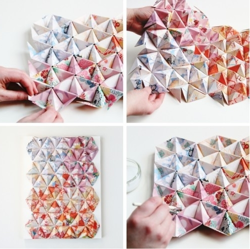 Diy 3D Paper Wall Art Intended For Trendy Eye Catching Diy 3D Origami Wall Art – Shelterness (View 14 of 15)