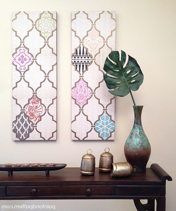 Diy Decoupage Wall Art Using Scrapbook Paper And Stencils, Decoupage Within Current Decoupage Wall Art (View 8 of 15)