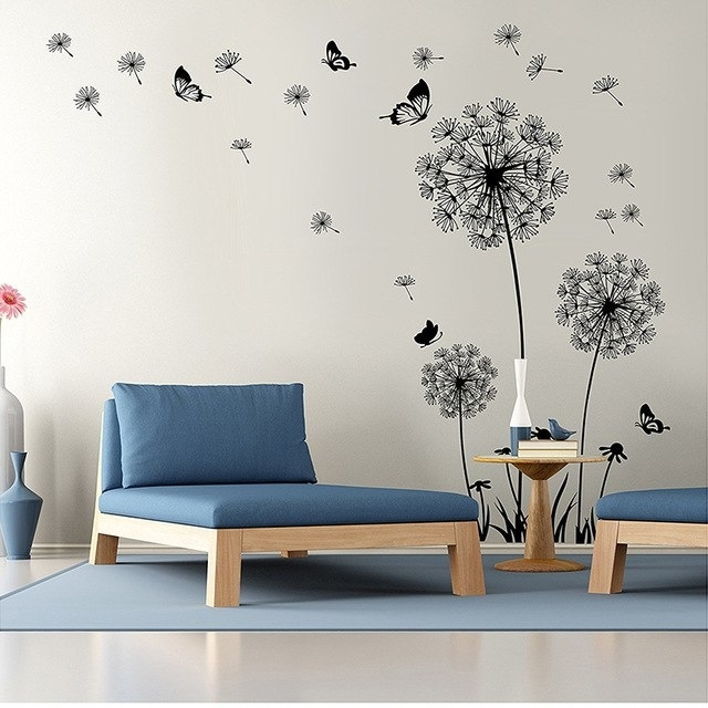Diy Flying Dandelion Flower Butterfly Wall Stickers Living Room For Trendy Wall Art Deco Decals (View 10 of 15)