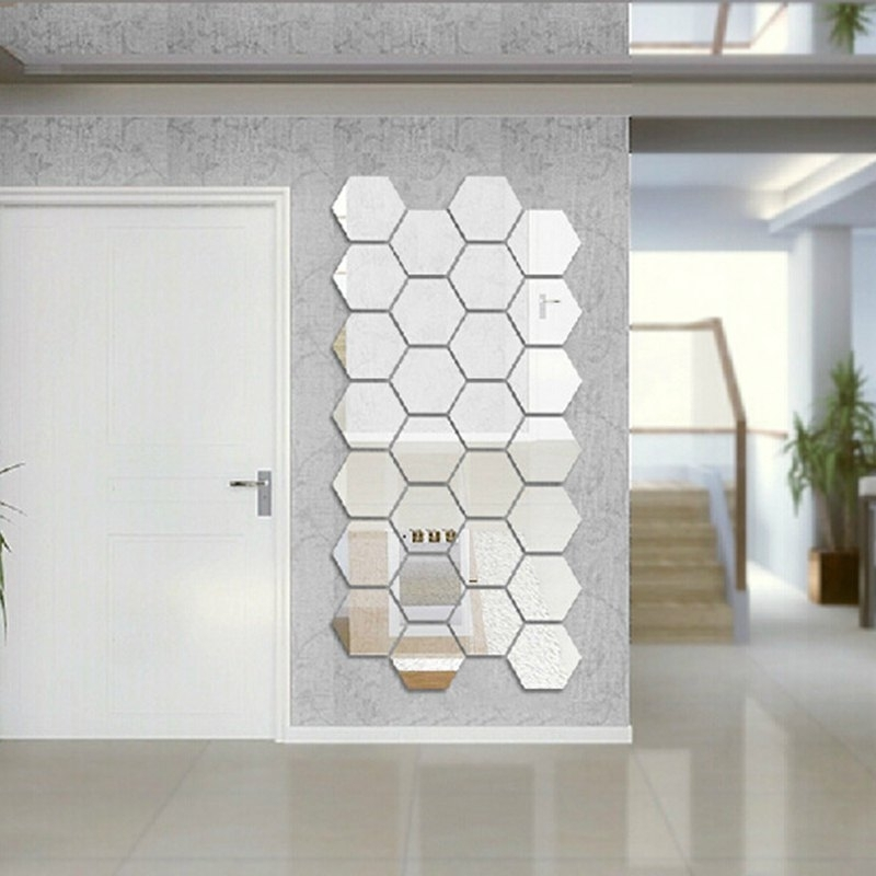 Diy Mirror Wall Art Within Most Up To Date Hexagon 3D Art Diy Mirror Wall Stickers For Home Wall Decal In (View 7 of 15)