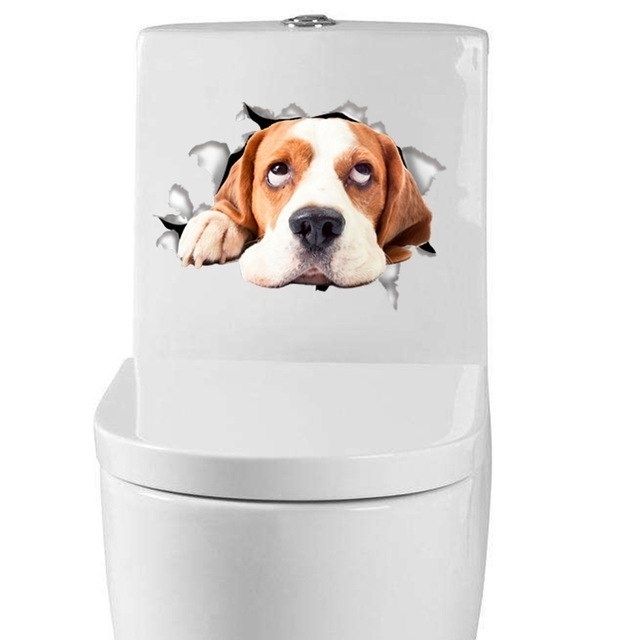 Dogs 3D Wall Art With 2018 4Pcs Hole View Vivid Dog 3D Wall Sticker Toilet Sticker Refrigerator (View 12 of 15)