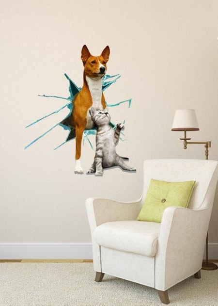 Dogs 3D Wall Art With Regard To Latest Cute Dog And Cat 3D Animal Wall Mural Art Decor Wall Stickers (View 2 of 15)