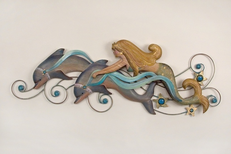 Dolphin Metal Wall Art Regarding Well Liked Mermaid With Dolphin Friends Fantasy Metal Wall Hanging (View 14 of 15)