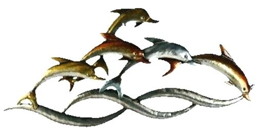 Dolphin Metal Wall Art With Regard To Well Known Dolphin Metal Wall Art Dolphins On Waves Wall Artcopper Art (View 9 of 15)