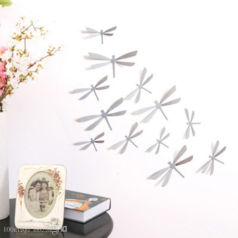 Dragonfly 3D Wall Art For Newest 3D Dragonfly Wall Stickers Home Decor Sticker On The Art Wall Decal (View 3 of 15)