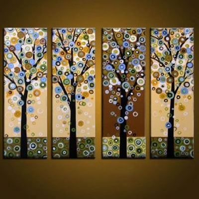 Dropping Leaves Modern Canvas Art Wall Decor Abstract Oil Painting With Regard To Most Recently Released Abstract Leaves Wall Art (View 6 of 15)