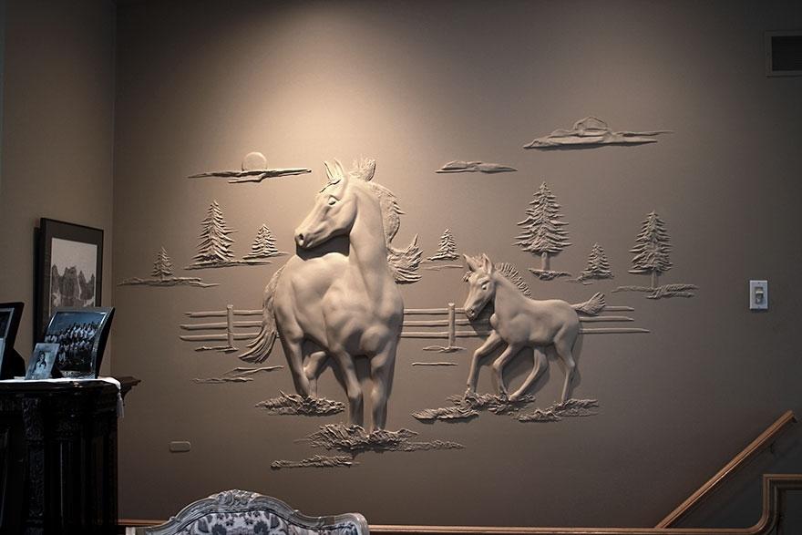 Drywall Worker Creates Stunning 3D Art Using Only Joint Compound Within Most Recent Animals 3D Wall Art (View 11 of 15)