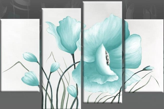 Duck Egg Blue Wall Art In 2018 Duck Egg Blue Large Poppy With Buds In 4 Panel Canvas Wall Art Print (View 3 of 15)