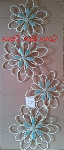 Duck Egg Blue Wall Art Within Most Recent Metal Flower, Floral Wall Art – Duck Egg Blue & Cream (View 8 of 15)