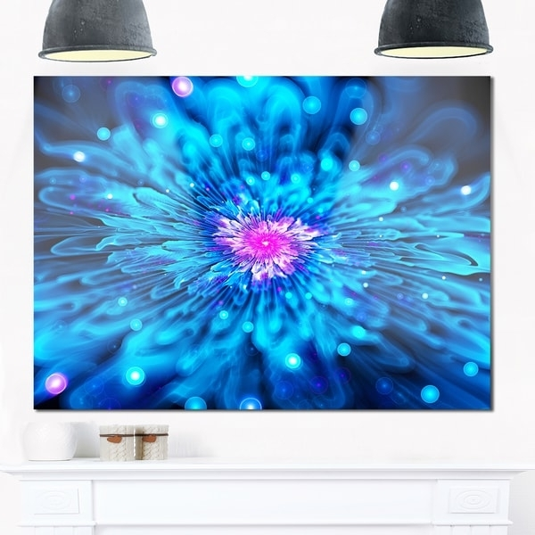 Electronic Wall Art inside Best and Newest Shop Magical Blue Glowing Flower - Floral Digital Art Glossy Metal