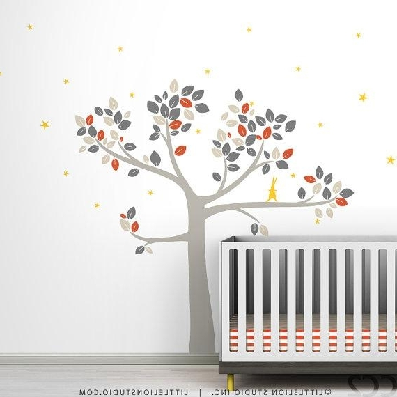 Etsy Childrens Wall Art Intended For Latest Baby Nursery Decor Tree Wall Decalleolittlelion On Etsy (View 10 of 15)
