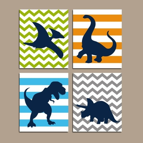 Etsy In Dinosaur Canvas Wall Art (View 11 of 15)