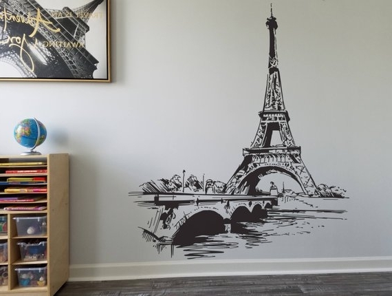 Etsy inside Best and Newest Eiffel Tower Wall Hanging Art