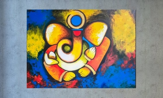 Etsy Intended For Best And Newest Abstract Ganesha Wall Art (View 6 of 15)